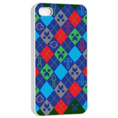 Minecraft Ugly Holiday Christmas Green Background Apple iPhone 4/4s Seamless Case (White)