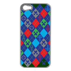 Minecraft Ugly Holiday Christmas Green Background Apple Iphone 5 Case (silver)