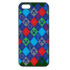 Minecraft Ugly Holiday Christmas Green Background Apple iPhone 5 Seamless Case (Black)