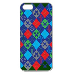 Minecraft Ugly Holiday Christmas Green Background Apple Seamless iPhone 5 Case (Clear)