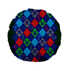 Minecraft Ugly Holiday Christmas Green Background Standard 15  Premium Round Cushions