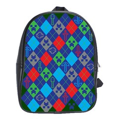 Minecraft Ugly Holiday Christmas Green Background School Bags (xl)