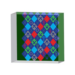 Minecraft Ugly Holiday Christmas Green Background 4 x 4  Acrylic Photo Blocks