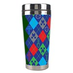 Minecraft Ugly Holiday Christmas Green Background Stainless Steel Travel Tumblers Left
