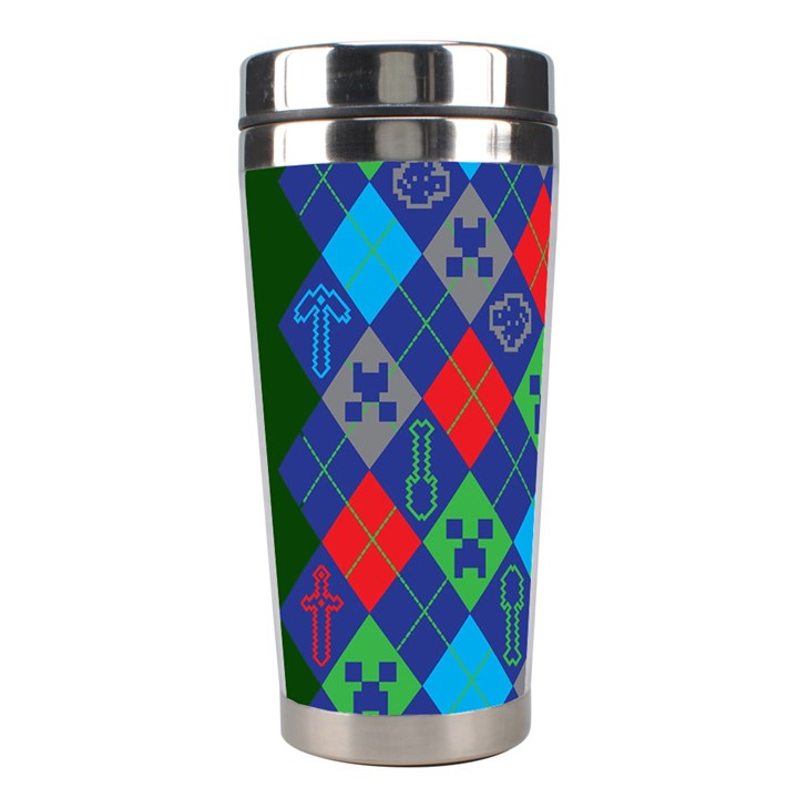 Minecraft Ugly Holiday Christmas Green Background Stainless Steel Travel Tumblers