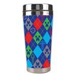 Minecraft Ugly Holiday Christmas Green Background Stainless Steel Travel Tumblers Center