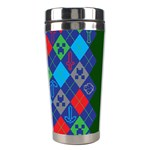 Minecraft Ugly Holiday Christmas Green Background Stainless Steel Travel Tumblers Right
