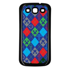 Minecraft Ugly Holiday Christmas Green Background Samsung Galaxy S3 Back Case (black)