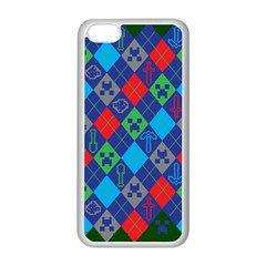 Minecraft Ugly Holiday Christmas Green Background Apple iPhone 5C Seamless Case (White)