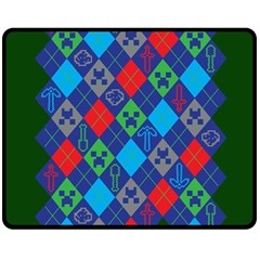 Minecraft Ugly Holiday Christmas Green Background Double Sided Fleece Blanket (medium)