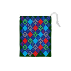 Minecraft Ugly Holiday Christmas Green Background Drawstring Pouches (small)