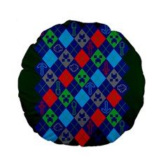 Minecraft Ugly Holiday Christmas Green Background Standard 15  Premium Flano Round Cushions
