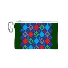 Minecraft Ugly Holiday Christmas Green Background Canvas Cosmetic Bag (S)