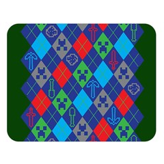Minecraft Ugly Holiday Christmas Green Background Double Sided Flano Blanket (Large)