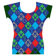 Minecraft Ugly Holiday Christmas Green Background Women s Cap Sleeve Top