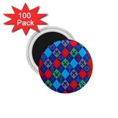 Minecraft Ugly Holiday Christmas Red Background 1.75  Magnets (100 pack)