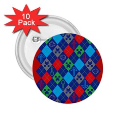 Minecraft Ugly Holiday Christmas Red Background 2 25  Buttons (10 Pack)