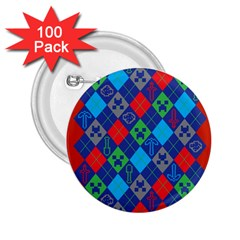 Minecraft Ugly Holiday Christmas Red Background 2 25  Buttons (100 Pack)