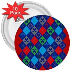 Minecraft Ugly Holiday Christmas Red Background 3  Buttons (10 pack)