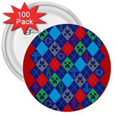 Minecraft Ugly Holiday Christmas Red Background 3  Buttons (100 pack)
