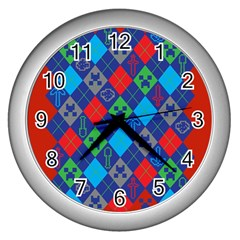 Minecraft Ugly Holiday Christmas Red Background Wall Clocks (Silver)