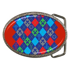 Minecraft Ugly Holiday Christmas Red Background Belt Buckles