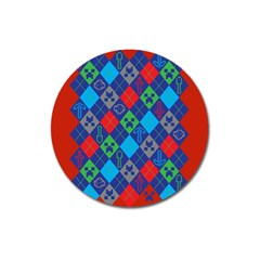 Minecraft Ugly Holiday Christmas Red Background Magnet 3  (Round)
