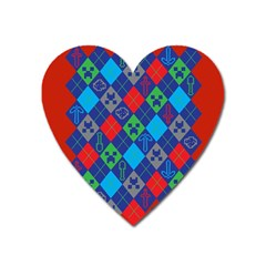 Minecraft Ugly Holiday Christmas Red Background Heart Magnet