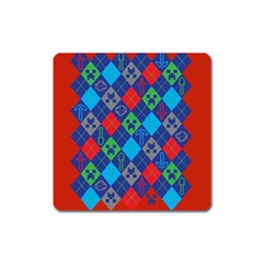 Minecraft Ugly Holiday Christmas Red Background Square Magnet