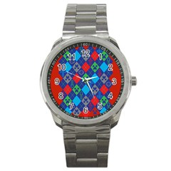 Minecraft Ugly Holiday Christmas Red Background Sport Metal Watch