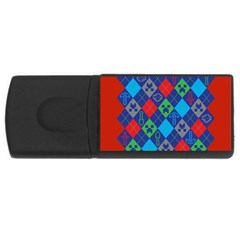 Minecraft Ugly Holiday Christmas Red Background USB Flash Drive Rectangular (4 GB)