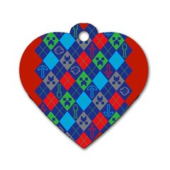 Minecraft Ugly Holiday Christmas Red Background Dog Tag Heart (One Side)