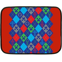 Minecraft Ugly Holiday Christmas Red Background Double Sided Fleece Blanket (mini)