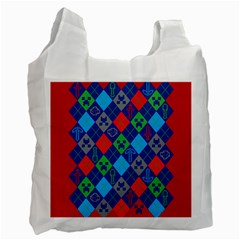 Minecraft Ugly Holiday Christmas Red Background Recycle Bag (two Side)