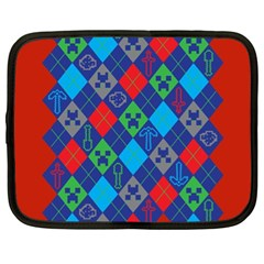 Minecraft Ugly Holiday Christmas Red Background Netbook Case (XL)