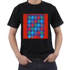 Minecraft Ugly Holiday Christmas Red Background Men s T-Shirt (Black)
