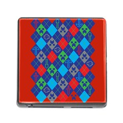 Minecraft Ugly Holiday Christmas Red Background Memory Card Reader (square)