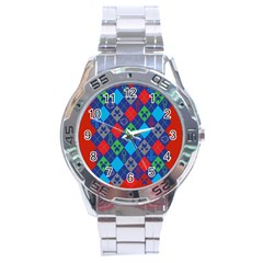 Minecraft Ugly Holiday Christmas Red Background Stainless Steel Analogue Watch
