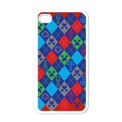 Minecraft Ugly Holiday Christmas Red Background Apple iPhone 4 Case (White)