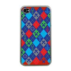 Minecraft Ugly Holiday Christmas Red Background Apple iPhone 4 Case (Clear)