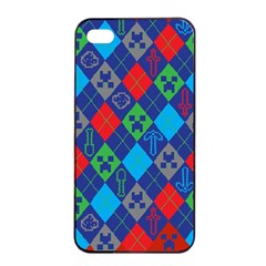 Minecraft Ugly Holiday Christmas Red Background Apple iPhone 4/4s Seamless Case (Black)