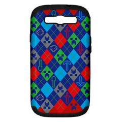 Minecraft Ugly Holiday Christmas Red Background Samsung Galaxy S III Hardshell Case (PC+Silicone)