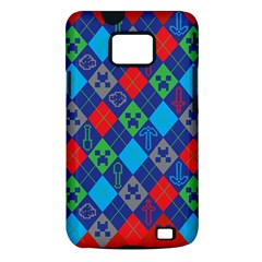 Minecraft Ugly Holiday Christmas Red Background Samsung Galaxy S II i9100 Hardshell Case (PC+Silicone)