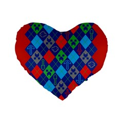 Minecraft Ugly Holiday Christmas Red Background Standard 16  Premium Heart Shape Cushions