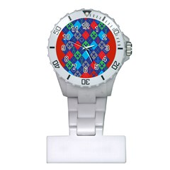 Minecraft Ugly Holiday Christmas Red Background Plastic Nurses Watch