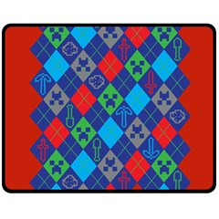 Minecraft Ugly Holiday Christmas Red Background Double Sided Fleece Blanket (medium)
