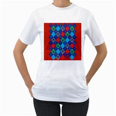 Minecraft Ugly Holiday Christmas Red Background Women s T-Shirt (White)