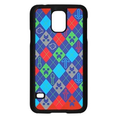 Minecraft Ugly Holiday Christmas Red Background Samsung Galaxy S5 Case (Black)