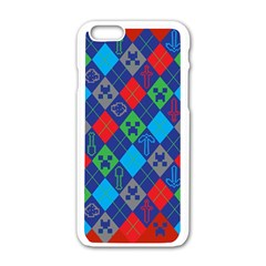 Minecraft Ugly Holiday Christmas Red Background Apple iPhone 6/6S White Enamel Case