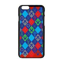 Minecraft Ugly Holiday Christmas Red Background Apple iPhone 6/6S Black Enamel Case